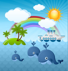 calm summer scene with whales sun clouds rainbow vector image