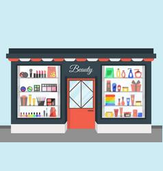 Cartoon beauty cosmetics store vector