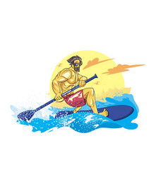cartoon style boy on the supsurf paddle vector image