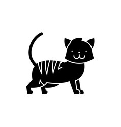 cat cute icon black sign on vector image