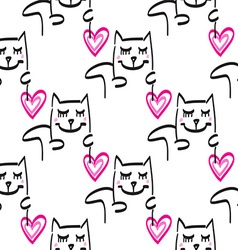 Cat pattern hand drawn vector image vector image