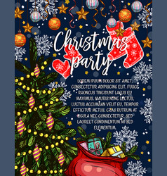 Christmas party sketch invitation poster vector
