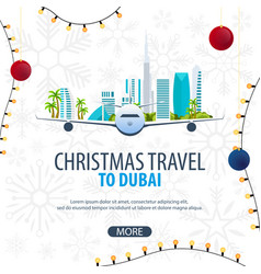 Christmas travel to dubai uae winter travel vector
