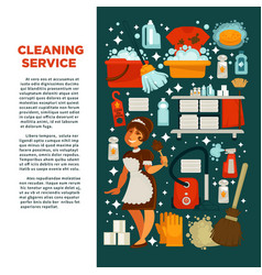 Cleaning service promotional poster with maid in vector