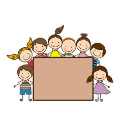 colorful group cartoon children with board frame vector image
