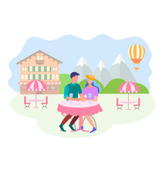 concept happy couple on a date and during the vector image