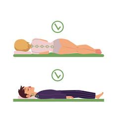 Correct sleeping posture of man woman vector