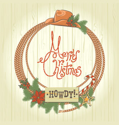 Cowboy christmas wreath with western vector