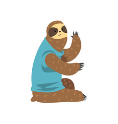 Cute sloth sitting lazy exotic rainforest animal vector