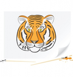 drawing tiger vector image