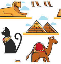 egypt seamless pattern pyramid and sphinx cat and vector image