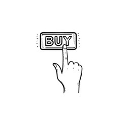 finger clicks on buy button hand drawn outline vector image