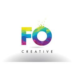 fo f o colorful letter origami triangles design vector image
