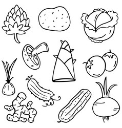 Food set vegetable of doodles vector