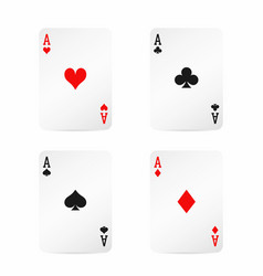 Four aces playing cards with shadow isolated vector