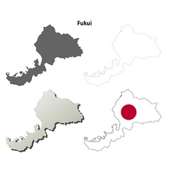 Fukui blank outline map set vector