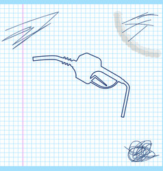gasoline pump nozzle line sketch icon isolated on vector image