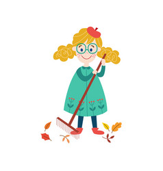 girl collects autumn leaves by rake vector image