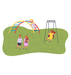 Girl rest on swing boy and girl holding hands vector
