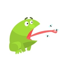 Green Frog Funny Character Catching Flies With Its vector image