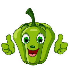 Green Pepper Character giving thumbs up vector image vector image