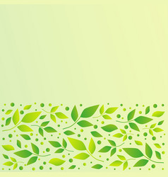 green square background with stripe of leaves vector image