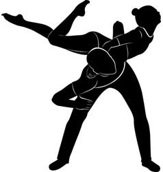 Gymnasts acrobats black silhouette vector