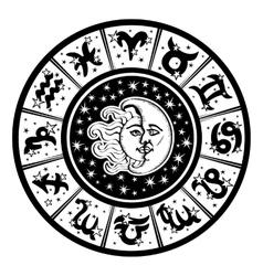 Horoscope circleZodiac signmoonsunBlackwhite vector image