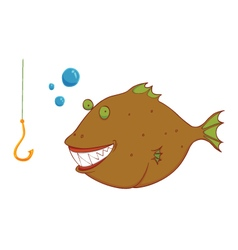 hungry wild fish vector image
