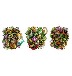 india cartoon doodle designs set vector image