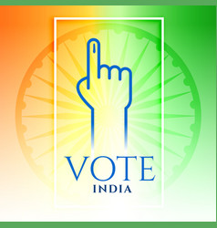 india vote hand with tricolor background vector image