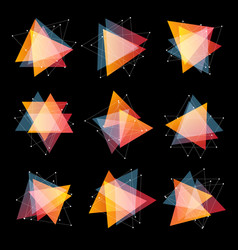 Isolated abstract pink and orange color triangles vector