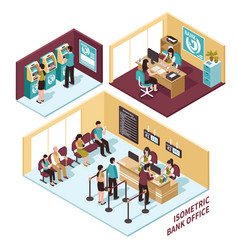 Isometric bank office composition vector