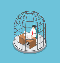 Isometric businessman working in the birdcage vector