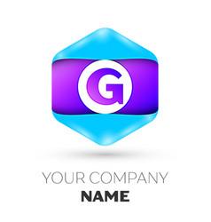 Letter g logo symbol in colorful hexagonal vector