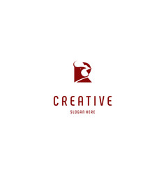 Letter r red rooster creative business logo design vector