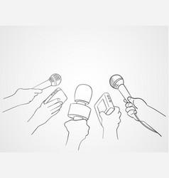 Line art of journalists vector