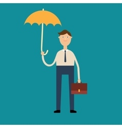 Man stands under an umbrella vector