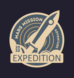 Mars expedition vintage isolated label vector