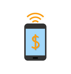 Mobile pay flat icon vector