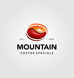 mountain coffee with sunset view in coffee seed vector image