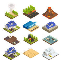 Natural disaster isometric icon set vector