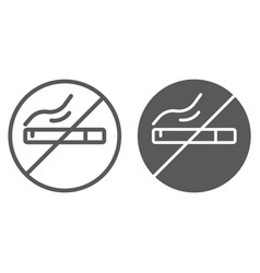 no smoking line and glyph icon smoke and warning vector image