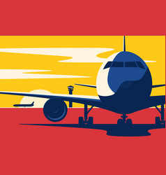 on a taxiway flat style of vector image
