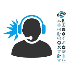 Operator headphones signal icon with air drone vector