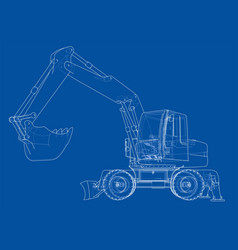 Outline of excavator isolated on white background vector