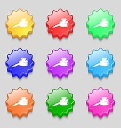 pen and ink icon sign symbol on nine wavy vector image
