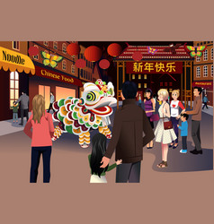 people celebrating chinese new year vector image