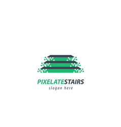 Pixelated stairs logo vector