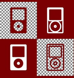 Portable music device bordo and white vector